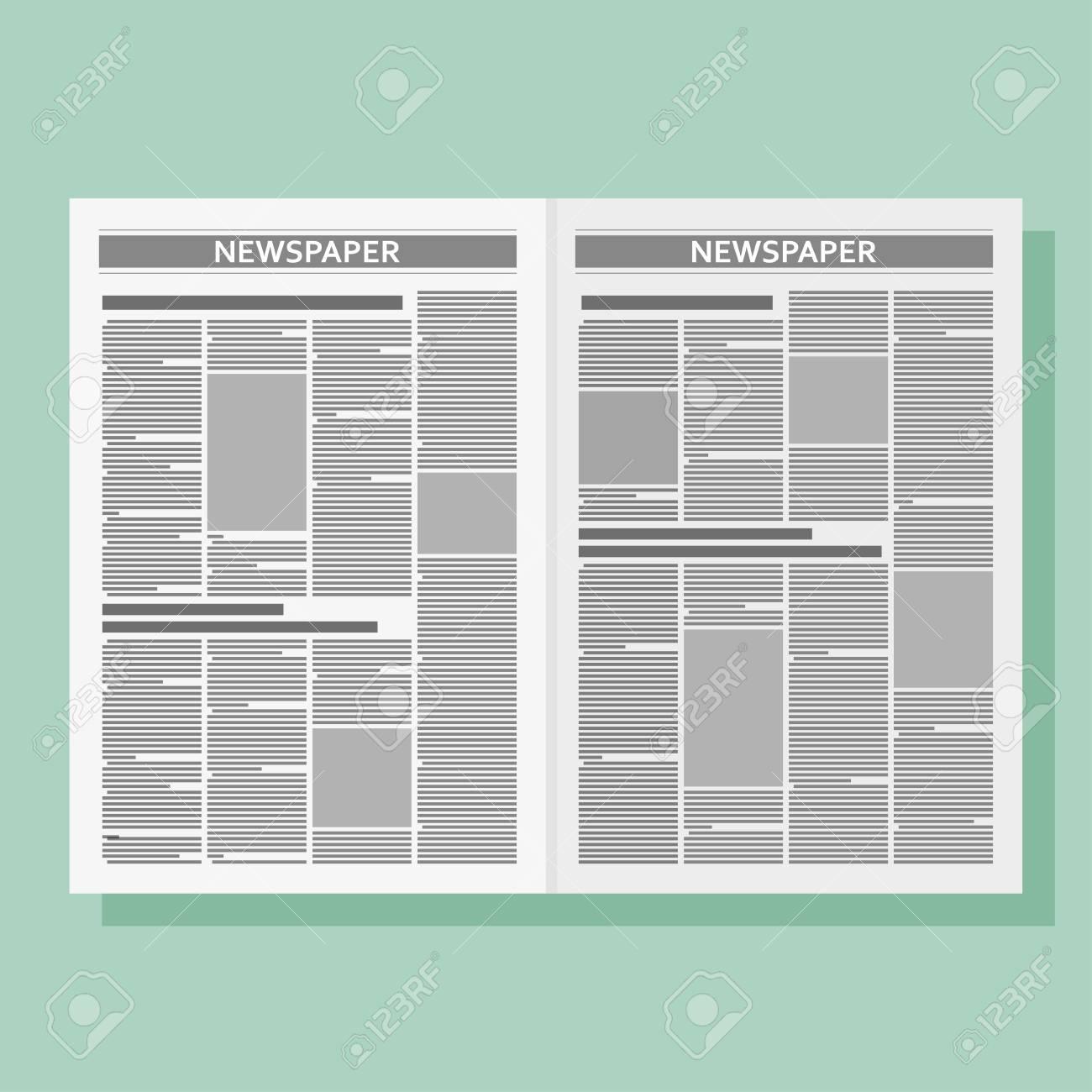 Plantilla De Periódico De Diseño Gráfico. Vector Ilustración Plana ...
