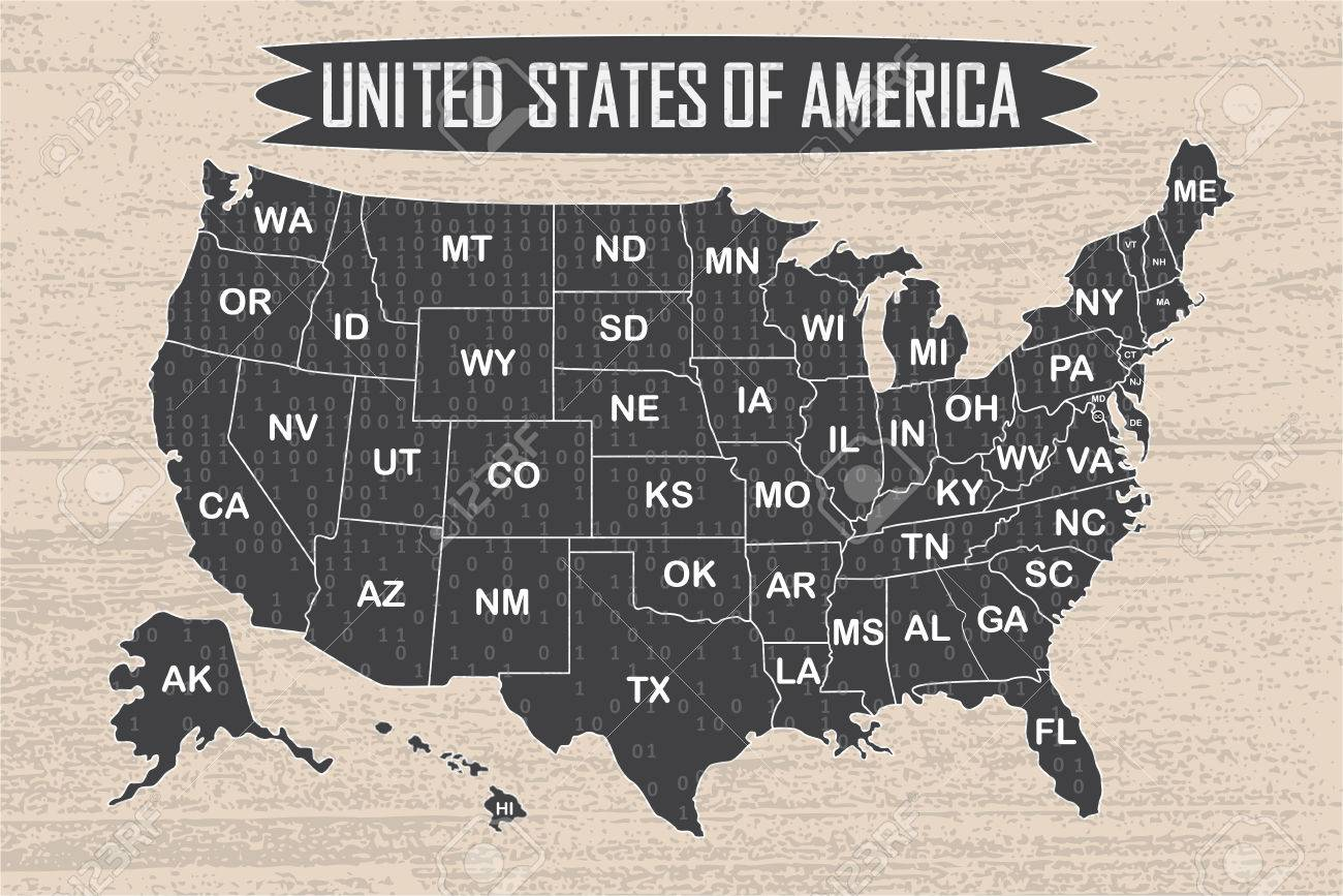 Poster Map Of United States Of America With State Names And Binary on