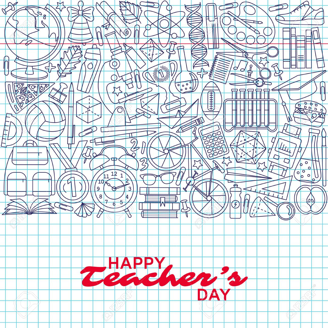Happy Teachers Day Background Greeting Card Vector Illustration
