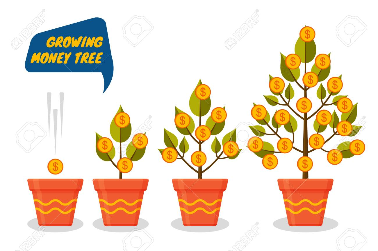 Money Tree Dollars Growth Set Decorative Plants In Flower Pots