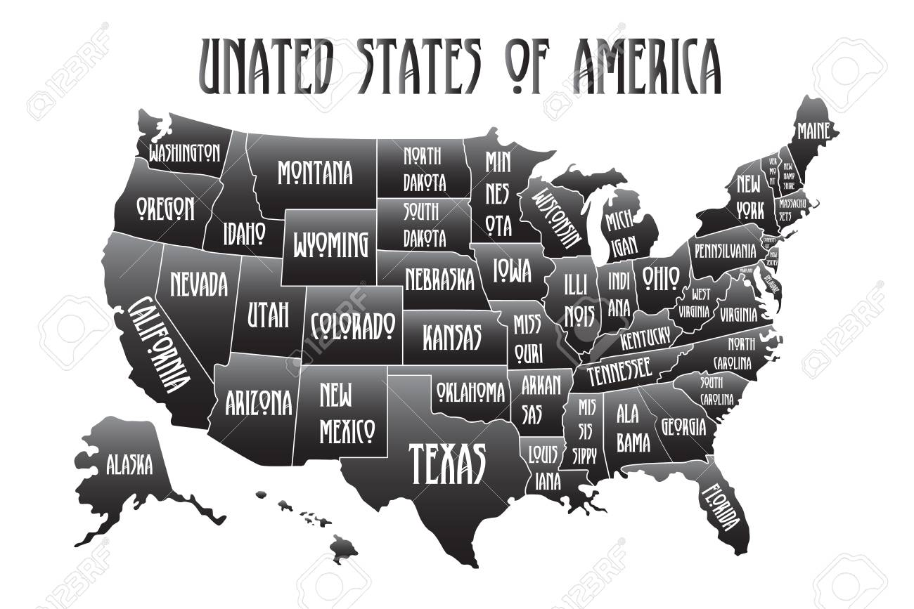 Poster map of United States of America with state names. Black..