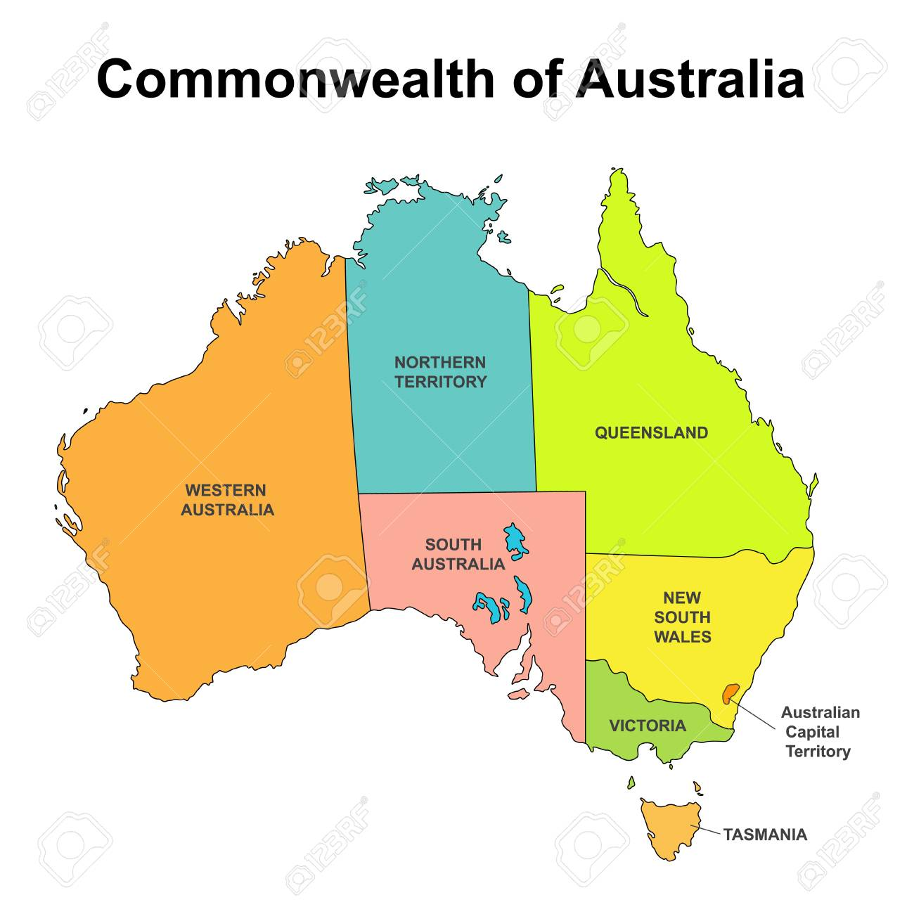 Map Of Australia Regions.Map Of Australia With Internal Regional Boundaries Vector Illustration