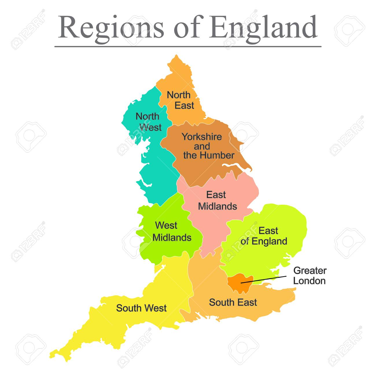 Colorful map of England with outline on white background. - 104937613