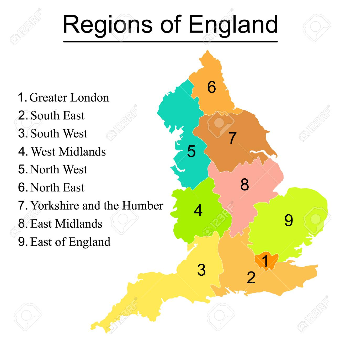 Map Of England Showing Yorkshire.Colorful Map Of England With Outline On White Background