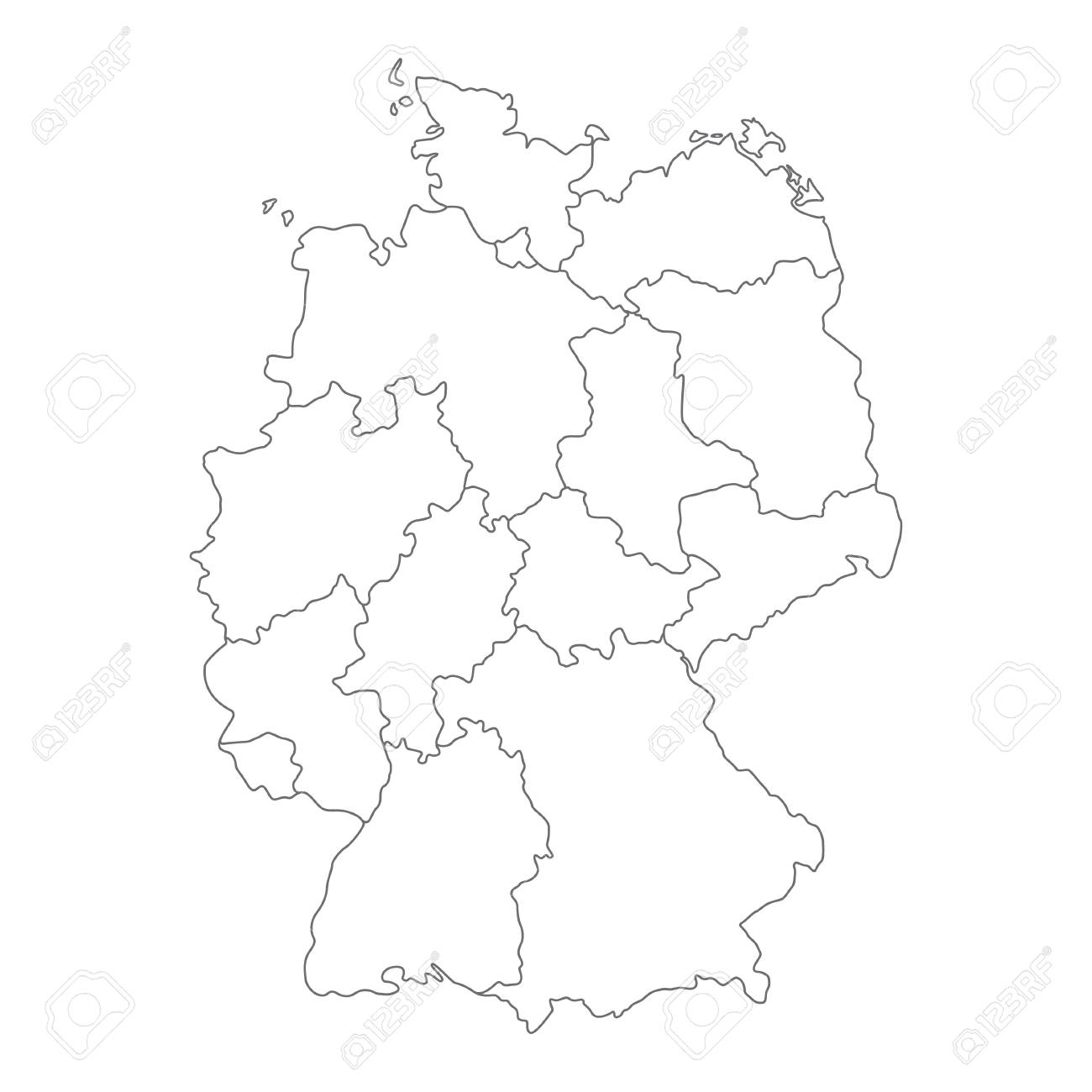 Map Of Germany Divided.Map Of Germany Divided To Federal States And City States Simple