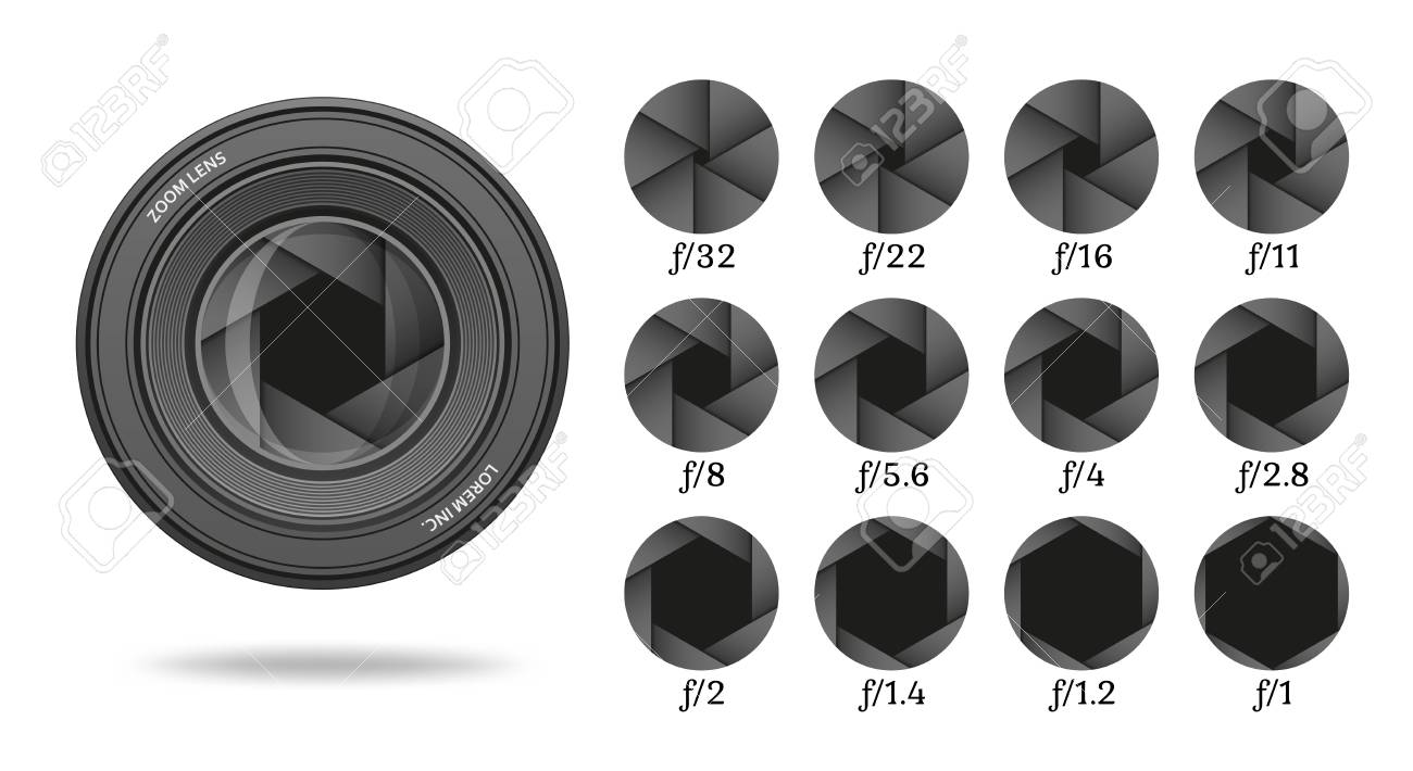Aperture icon set with value numbers camera shutter lens diaphragm row vector illustration