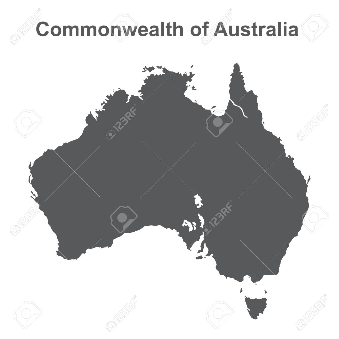 Australia Map Black And White.Stock Illustration