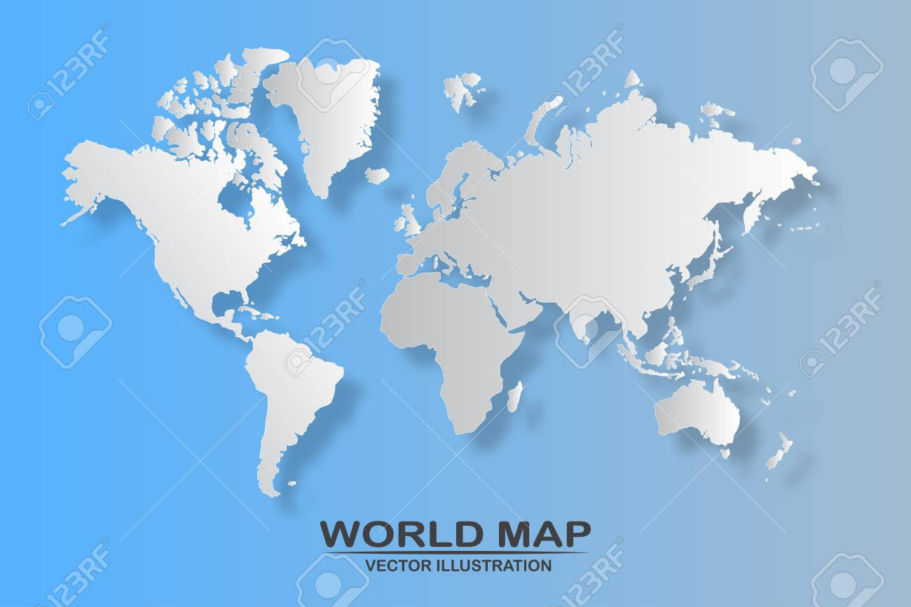 Political world map with shadow isolated on blue background, vector illustration - 153327149