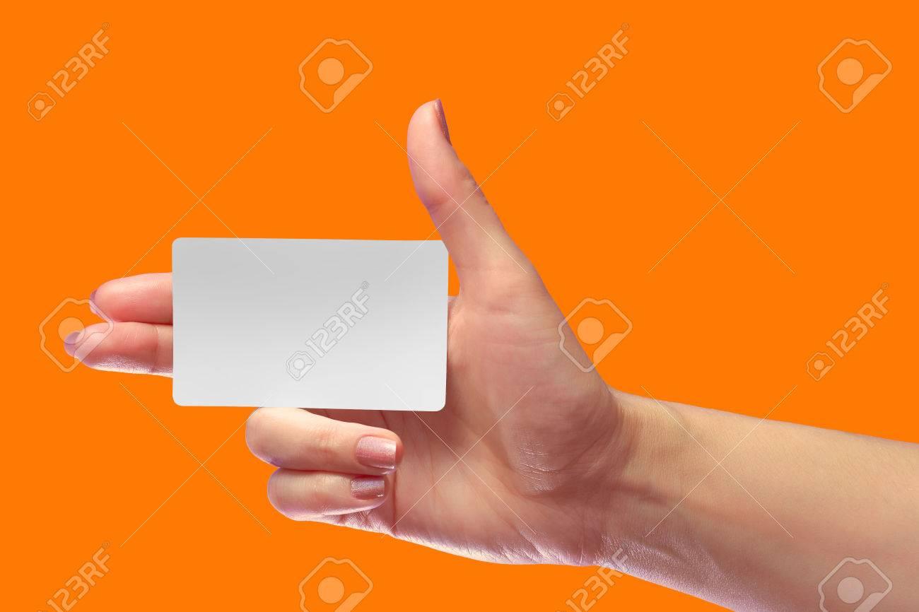 Rechts Weibliche Hand Halten Leere Weiße Karte Mockup. Prepaid ...