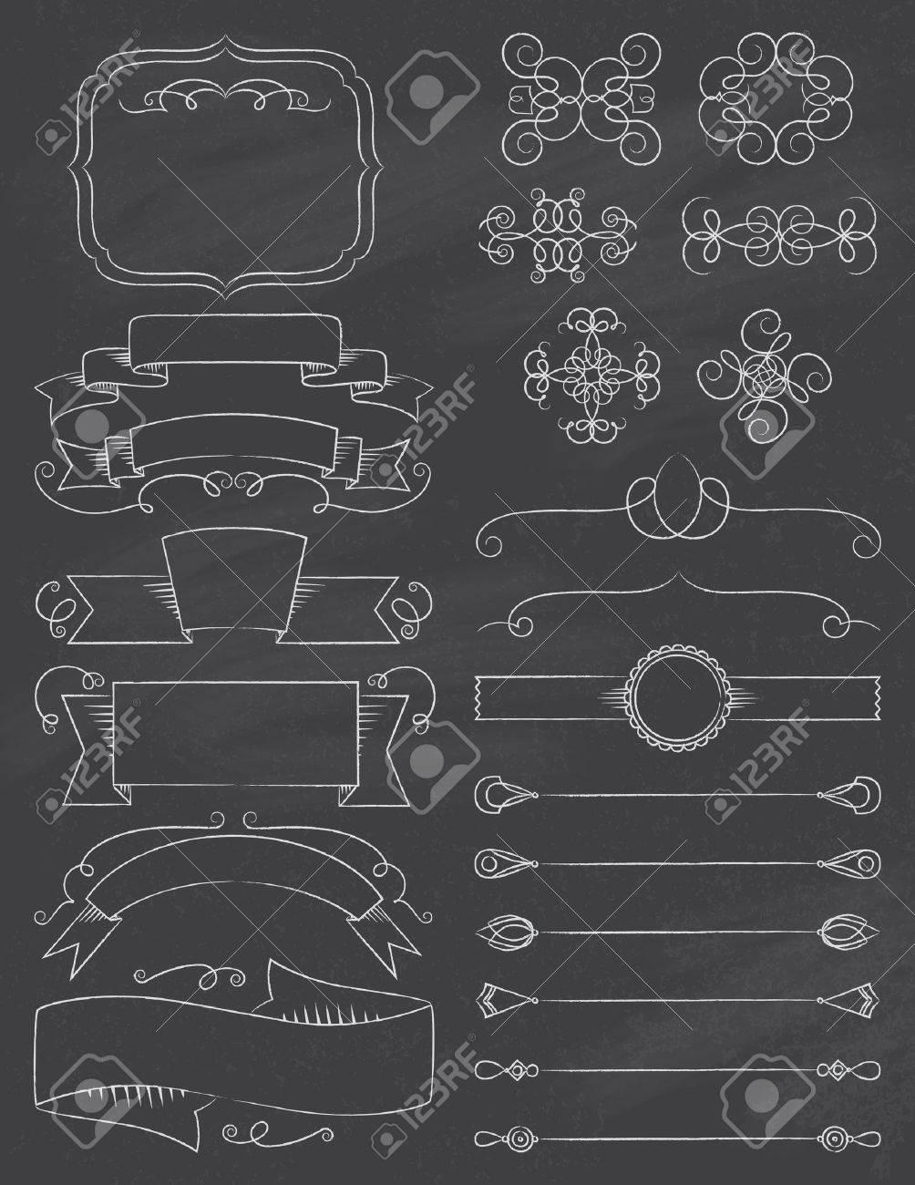 vintage calligraphy chalkboard design elements five royalty free