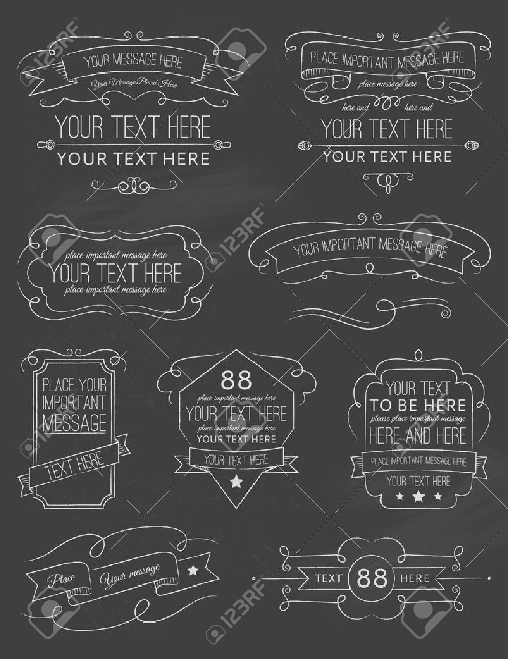 vintage calligraphy chalkboard elements six royalty free cliparts