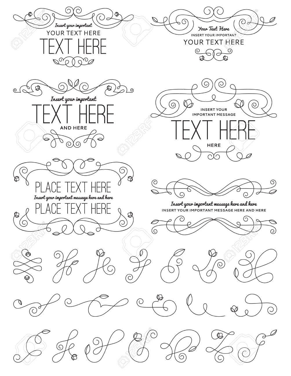 Vintage Calligraphy Flower Design Elements Royalty Free Cliparts