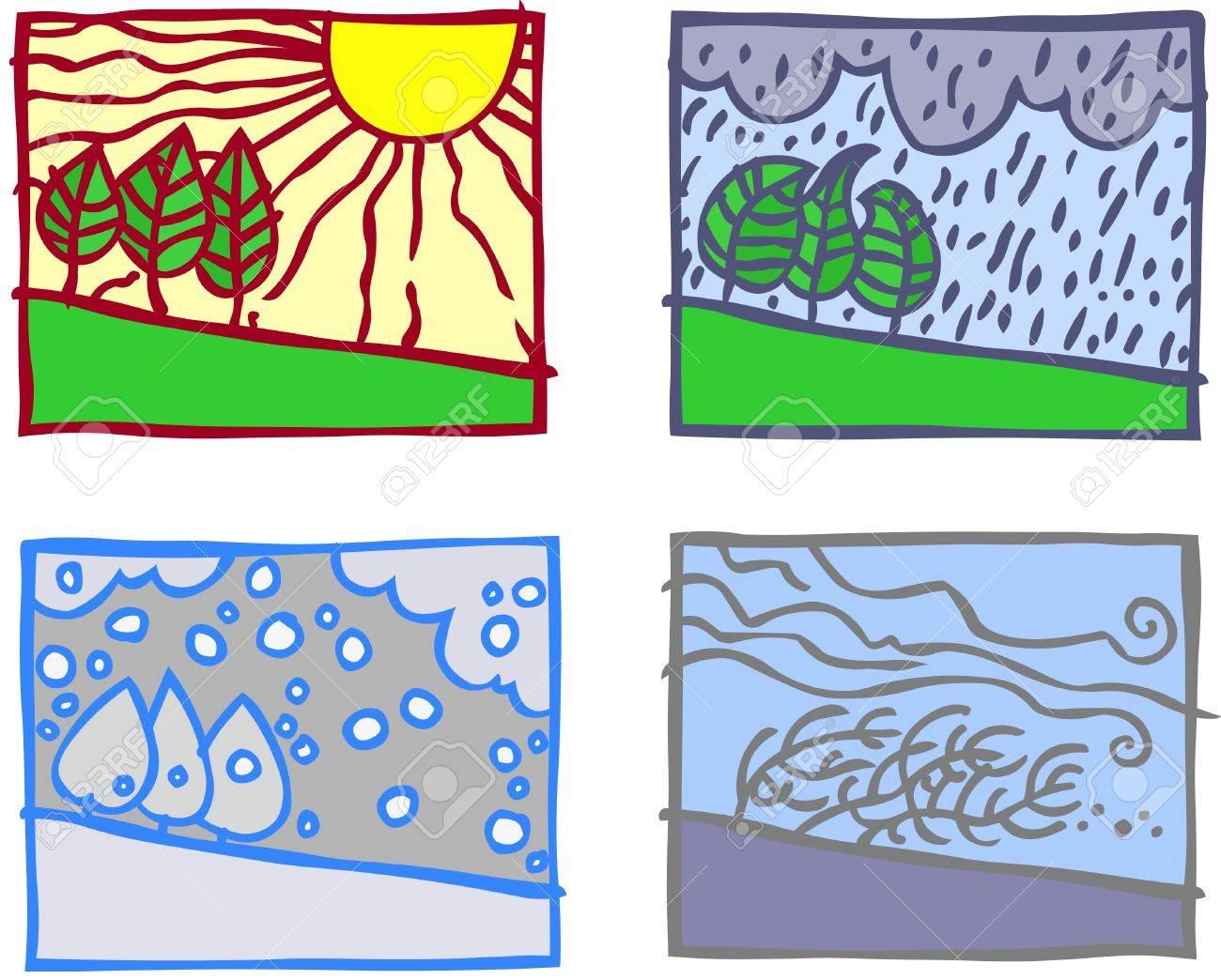 Four simple season landscapes. Stock Vector - 9168761