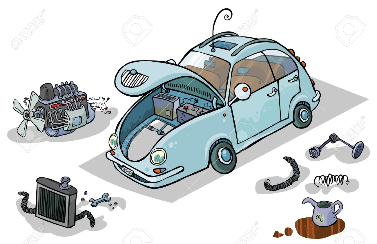 Cartoon Illustration Of A Car With His Parts Royalty Free Cliparts ...