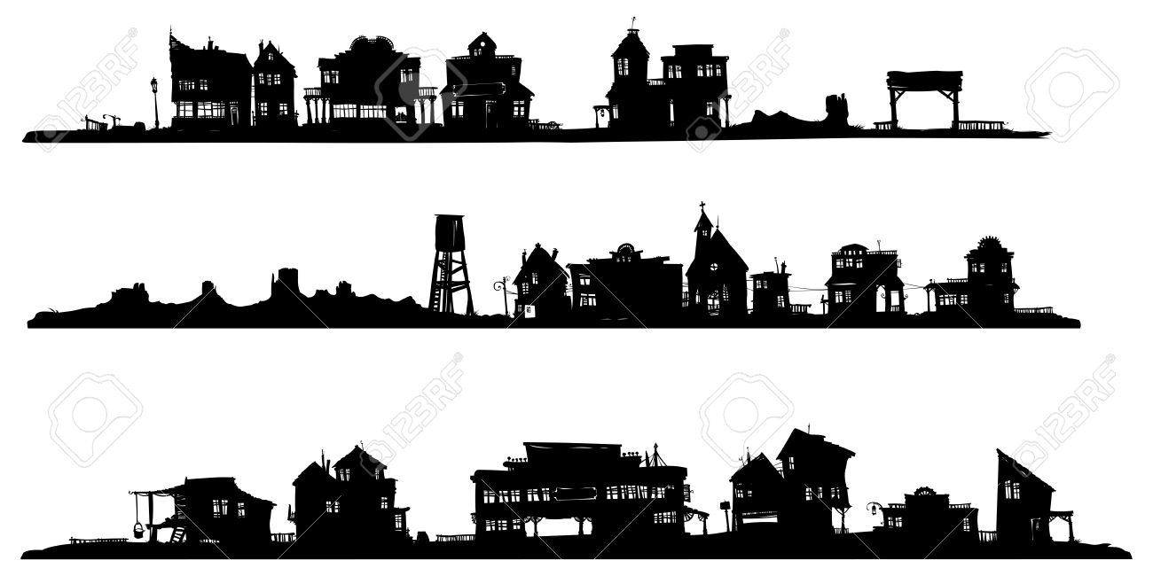 Western Style Buildings. Silhouette Drawing. Royalty Free Cliparts ...