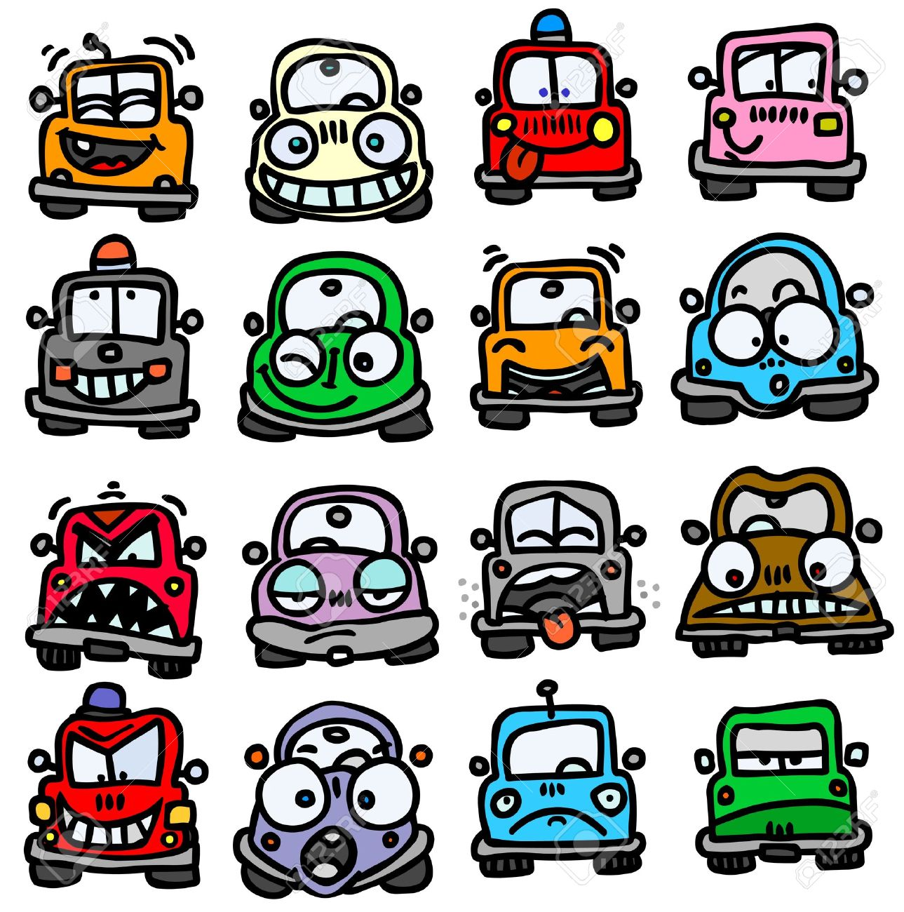 cartoon car funny cars emoticons illustration