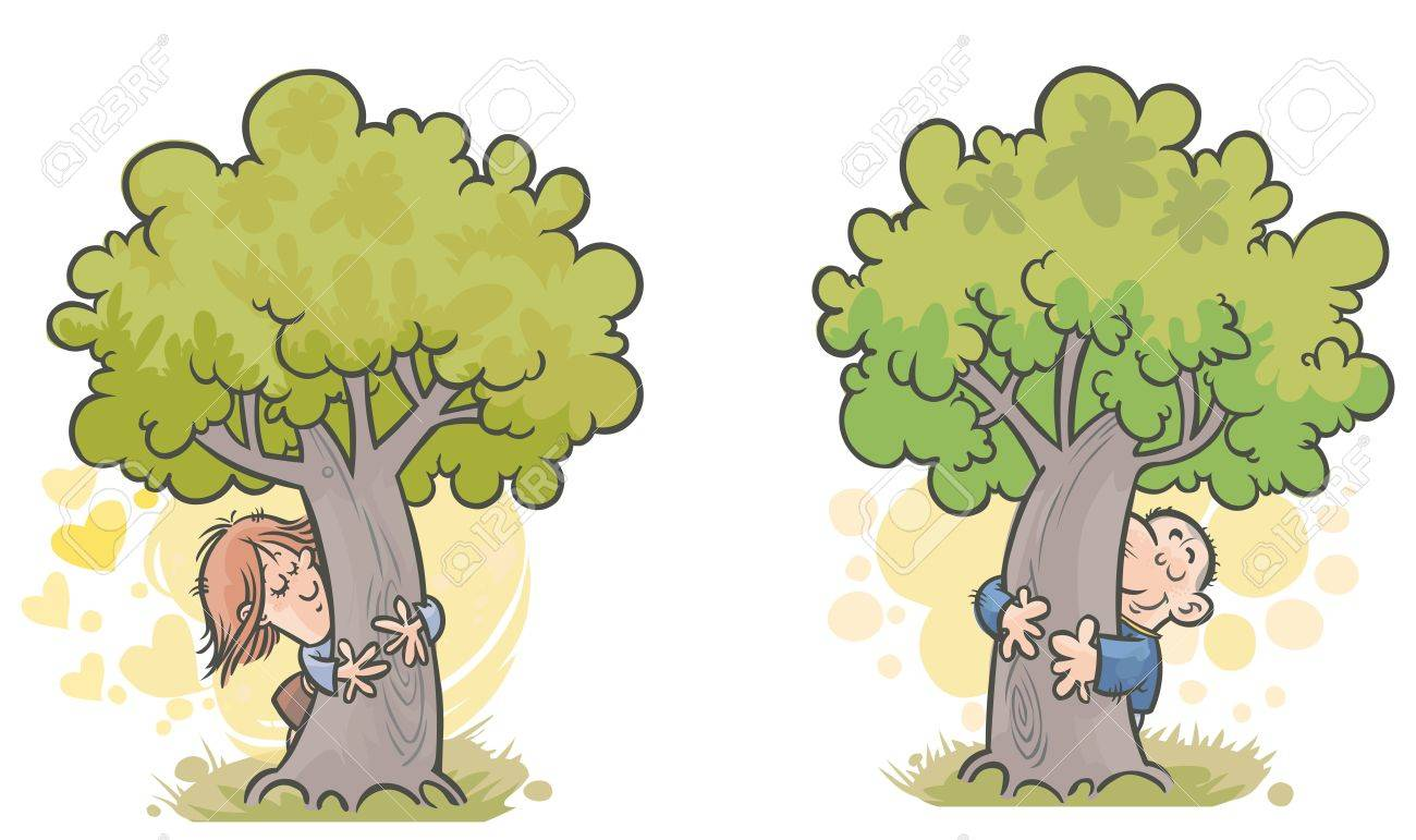 Woman And Man Tree Huggers Royalty Free Cliparts Vectors And Stock
