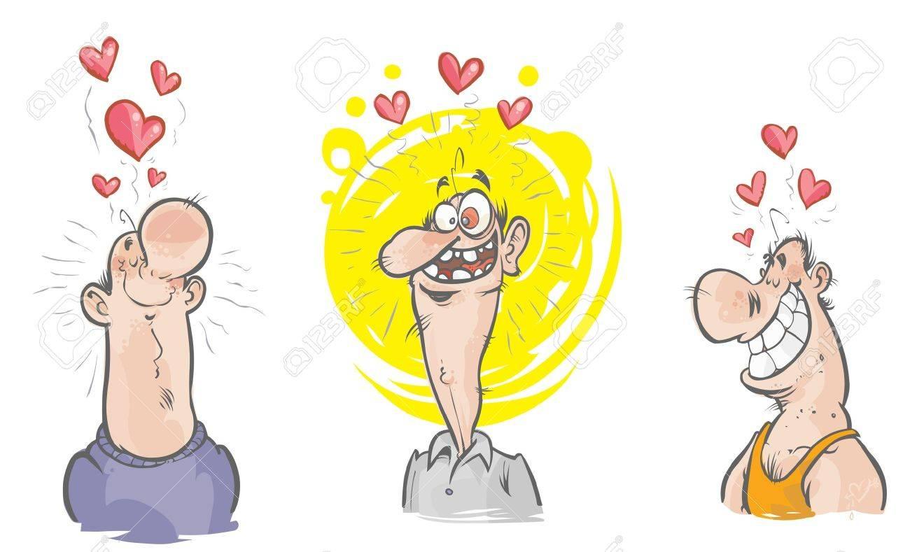 Trois Personnages Droles Dans L Amour Clip Art Libres De Droits Vecteurs Et Illustration Image 20896708