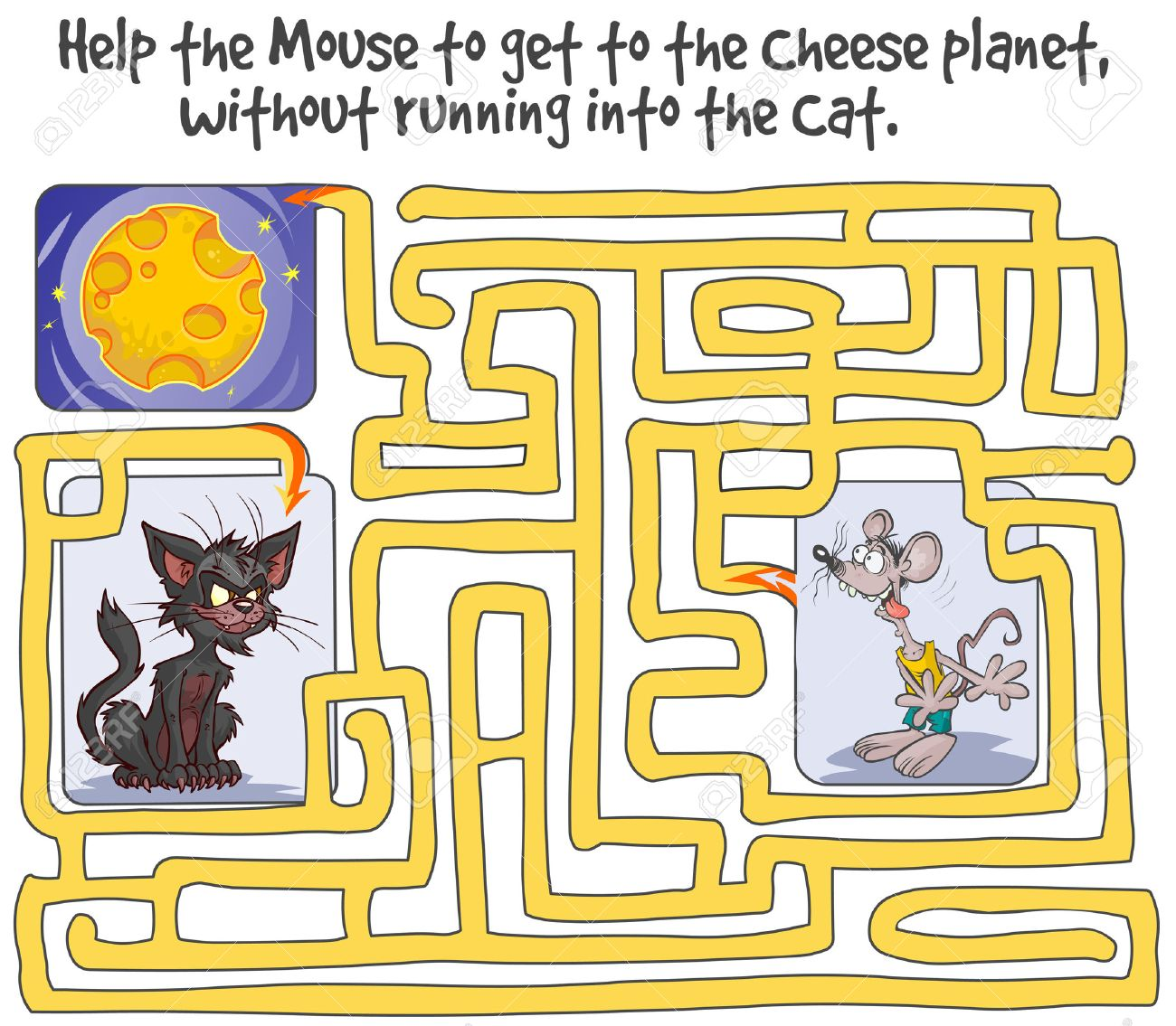 funny maze game with mouse cheese planet and cat royalty free