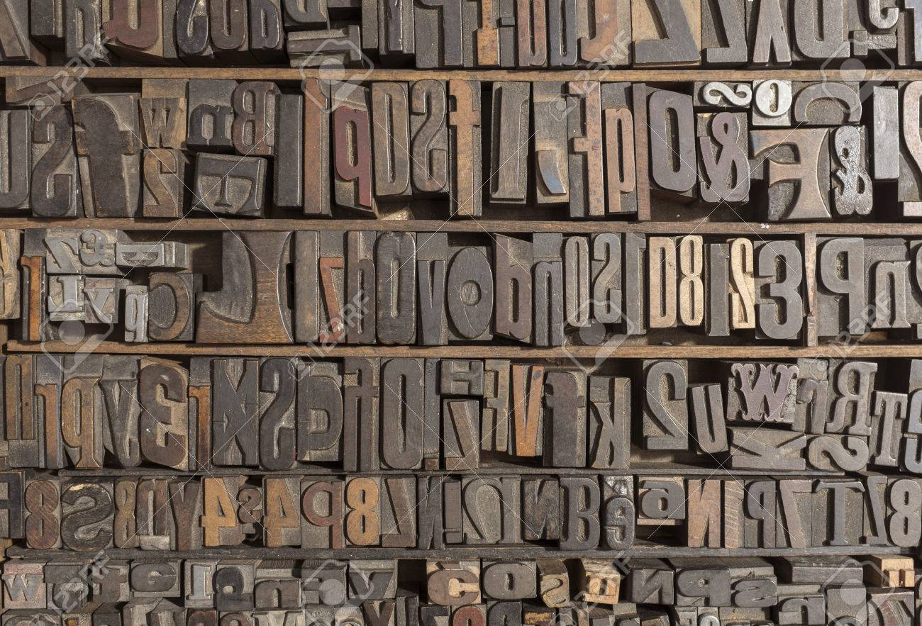 collection of various wood type letters for printing stock photo 29843166