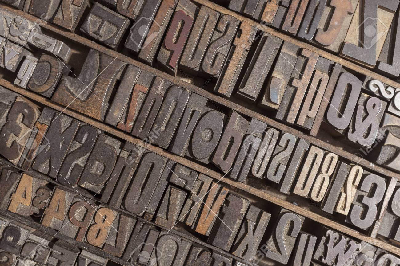 collection of various wood type letters for printing stock photo 29843167