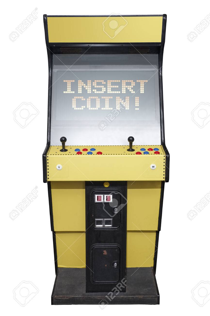 Vintage video game with Insert Coin screen isolated on white
