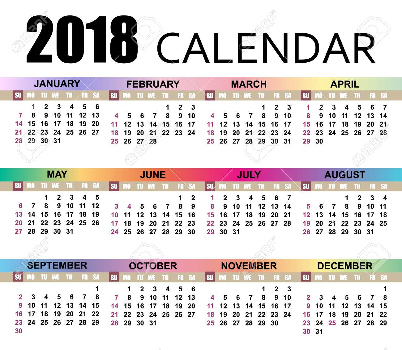 Calendario Con Week 2018.Calendar 2018 Template The Week Starts On Sunday Vector Illustration