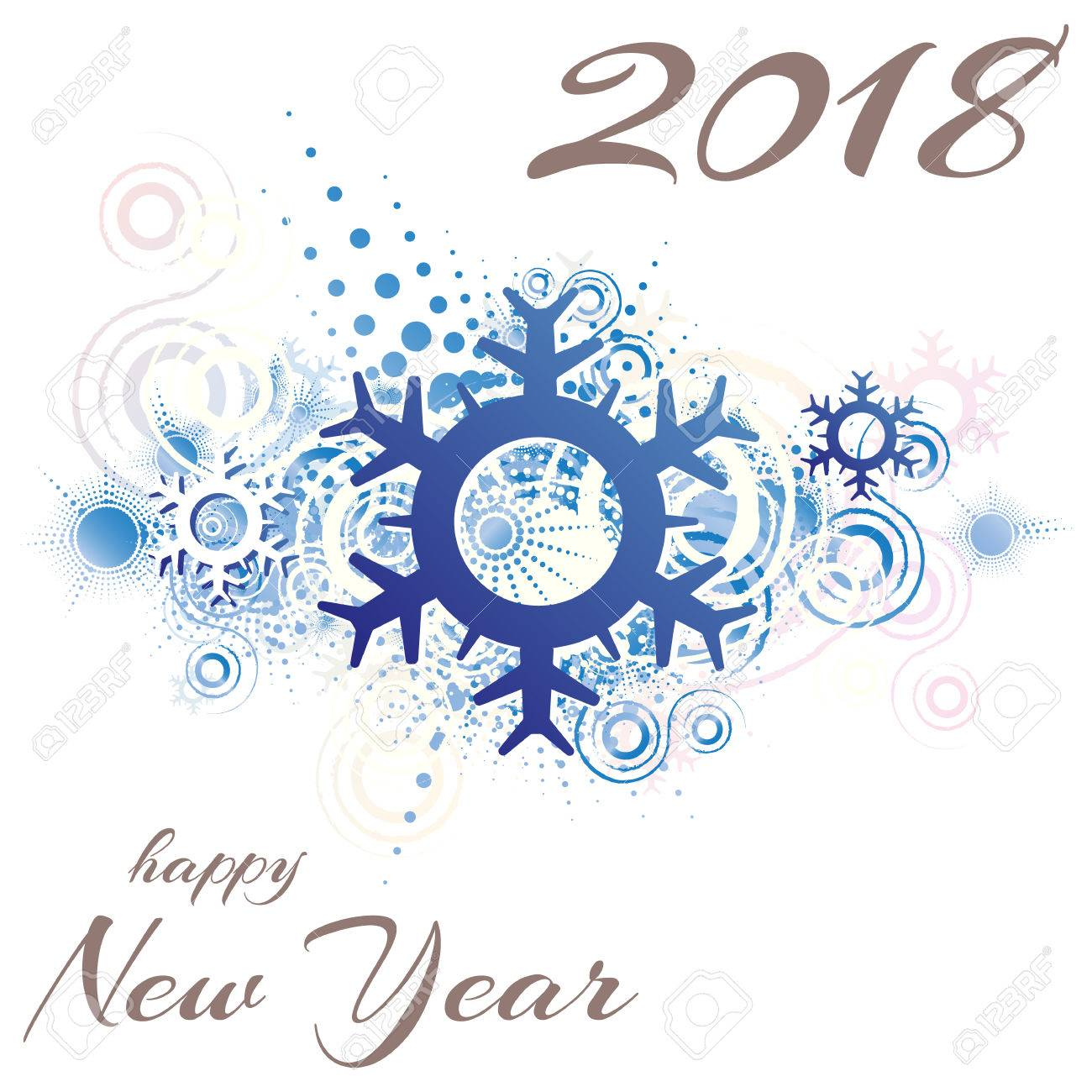happy new year 2018 snowflake abstract grunge background vector illustration stock vector