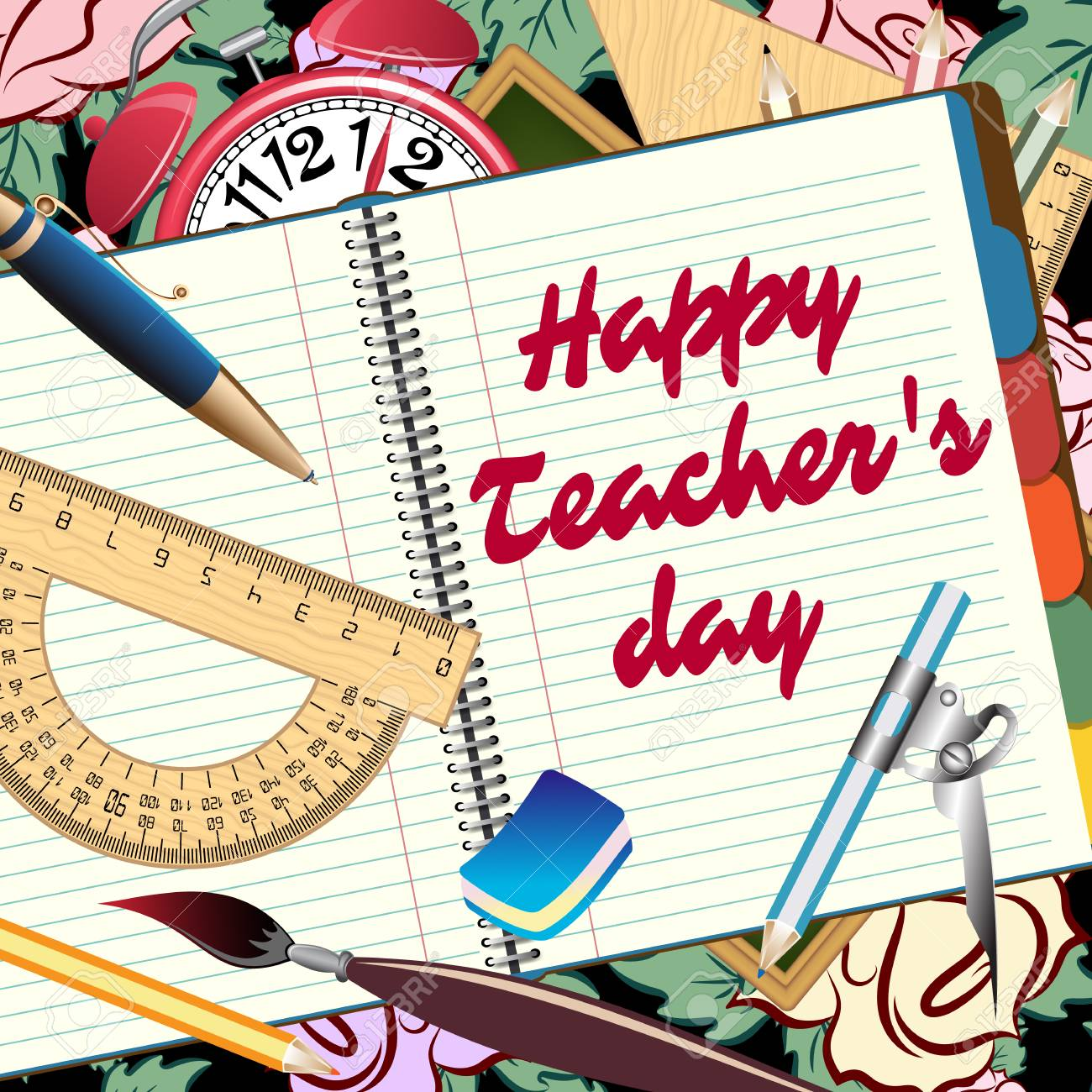 Happy Teachers Day Greeting Card Abstract Poster With Pencils