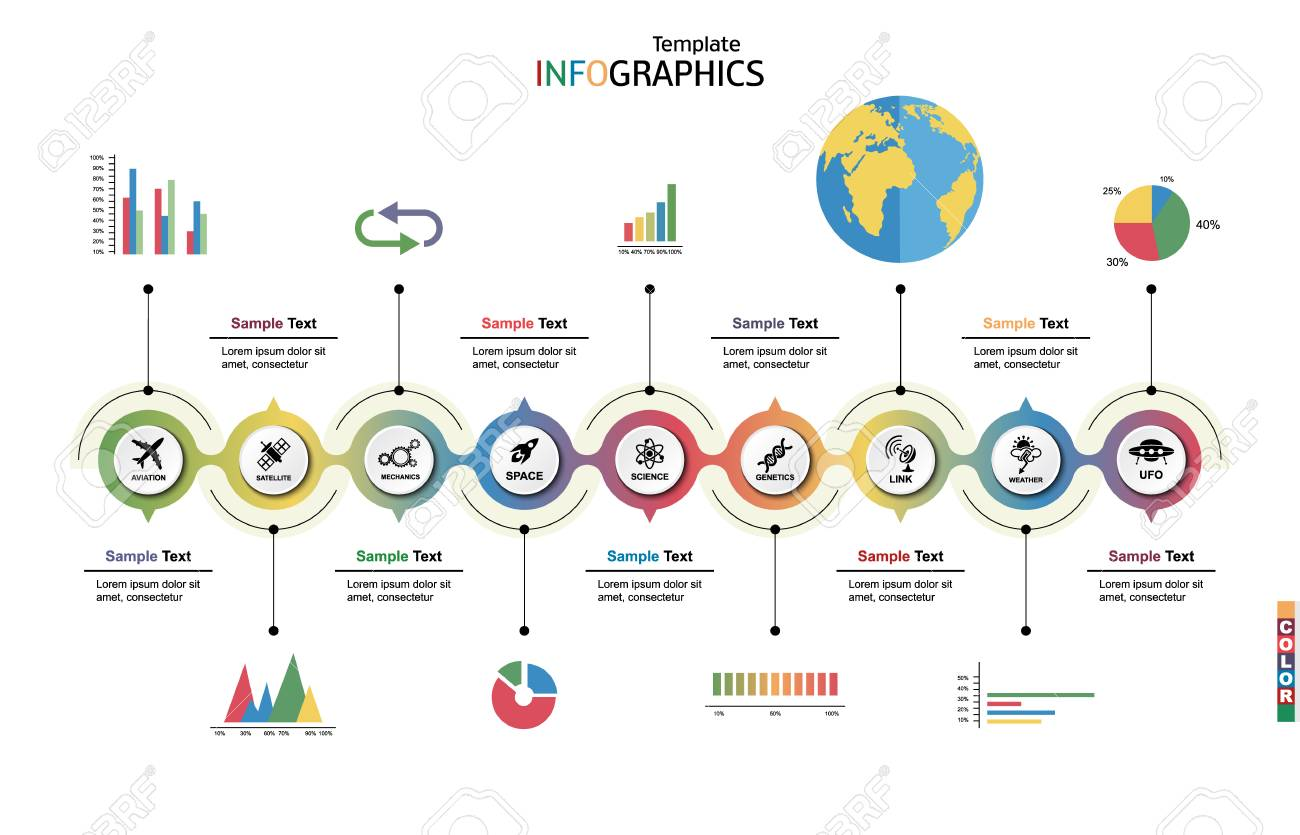 Infographic template  Science and technology horizontal background
