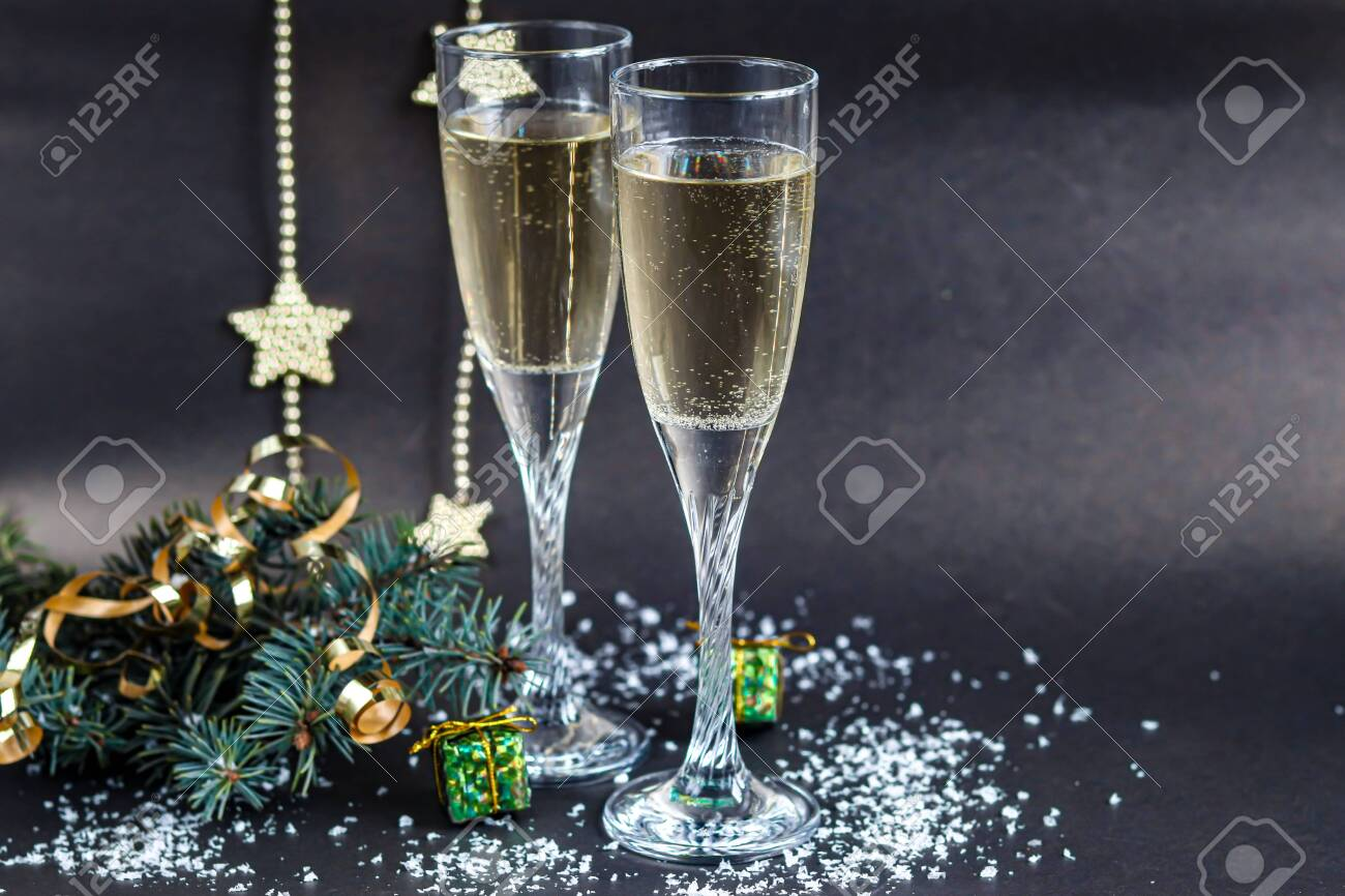 Christmas Mood Glasses With Champagne New Year Christmas Tree Stock Photo Picture And Royalty Free Image Image 133479863