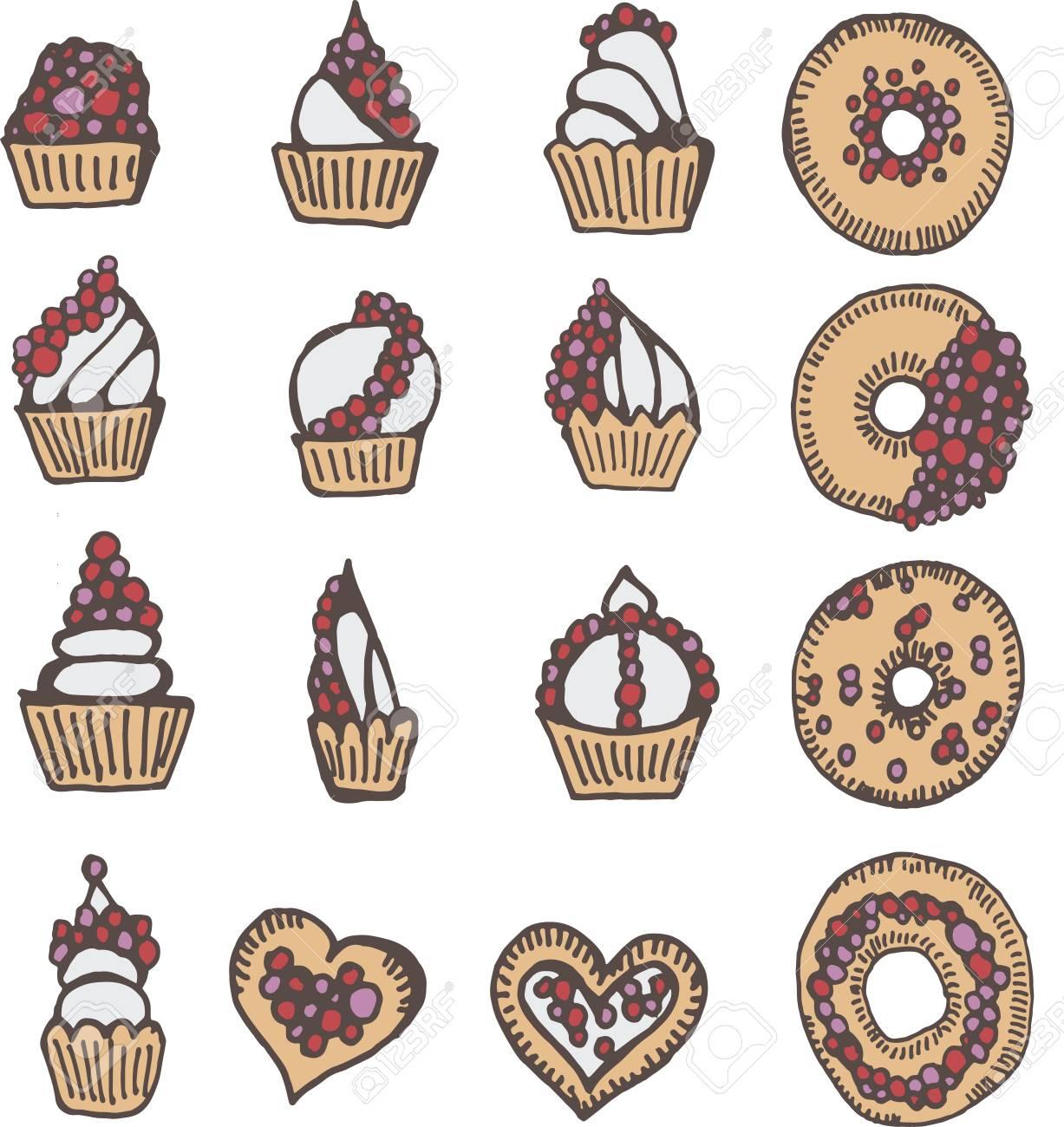 Coleção De Bebê Adorável Padaria Comida Doodle ícone Donut Bonito Arco íris Adorável Donut Massa Doce Kawaii Pastelaria Bolinho Feminino Em