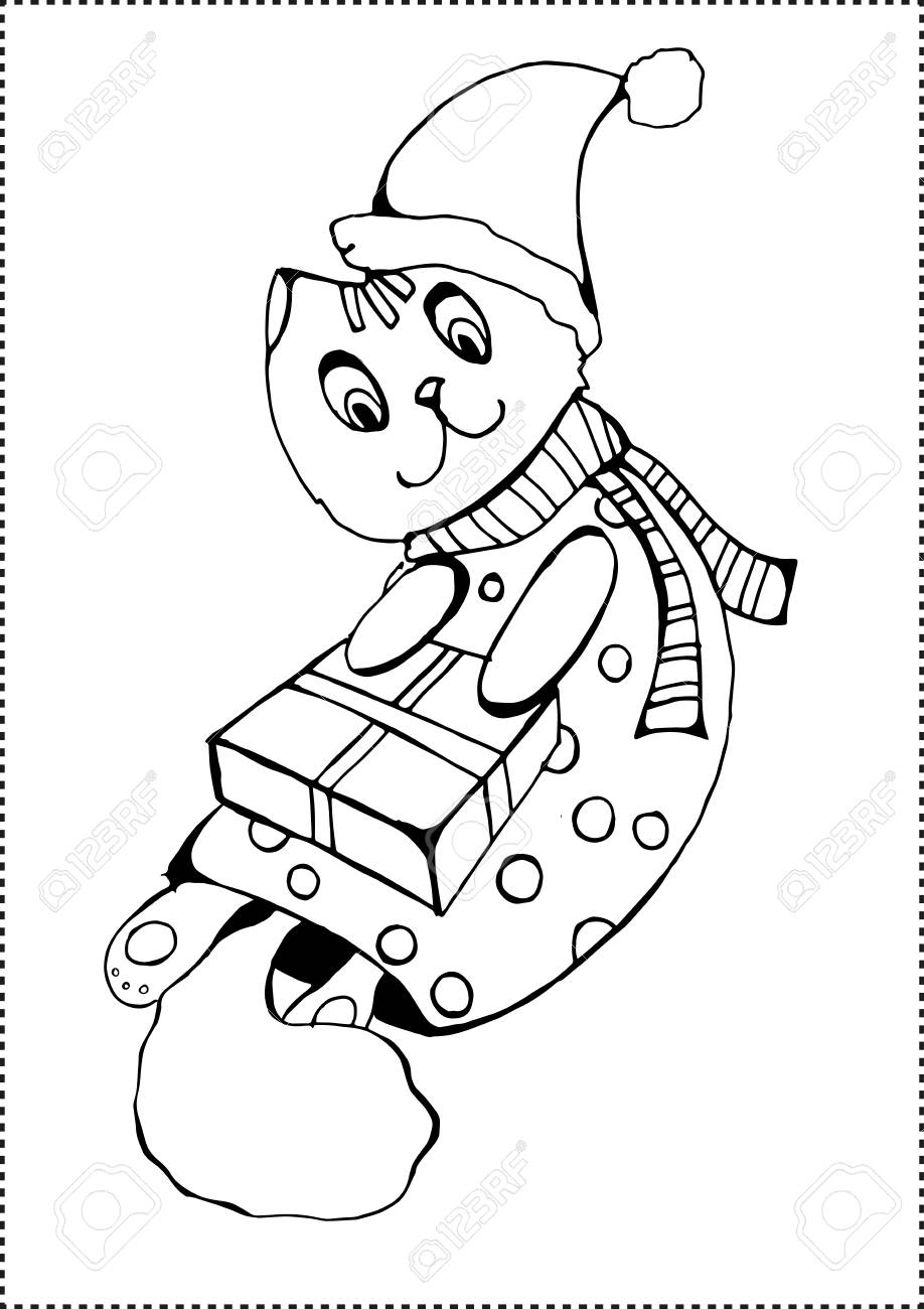 Christmas Cat Coloring Page On White Background Illustration