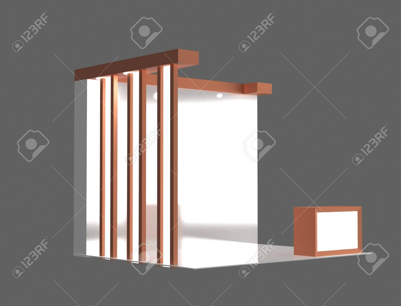 Exhibition Stand Free D Model : Reorange color d exhibition stand 3d rendering design stock photo