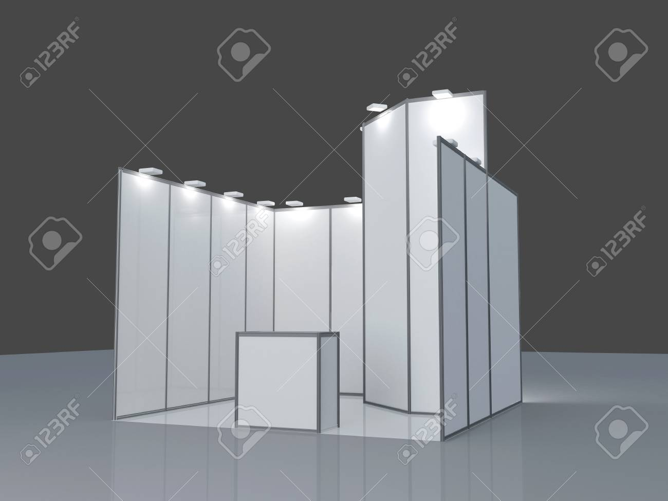 Exhibition Stand 3d Model Free : Blank exhibition stand d render isolated on white background