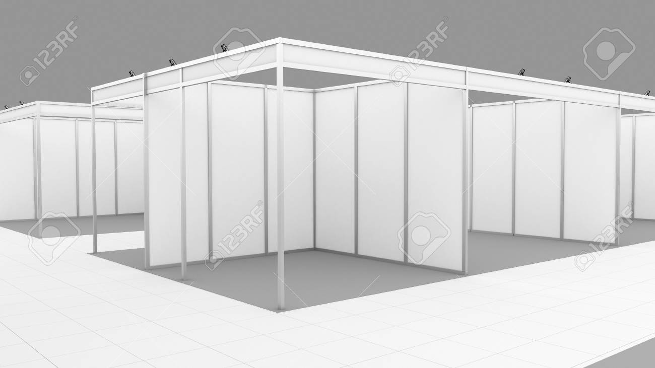 Exhibition Stand White : Blank white trade exhibition booth system stand for your design