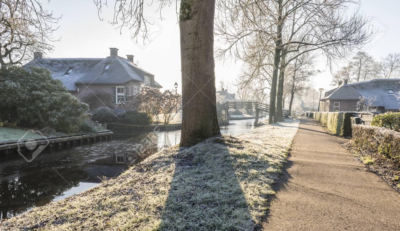 Winter In Giethoorn In Overijssel With Frozen Grass Old Monumental