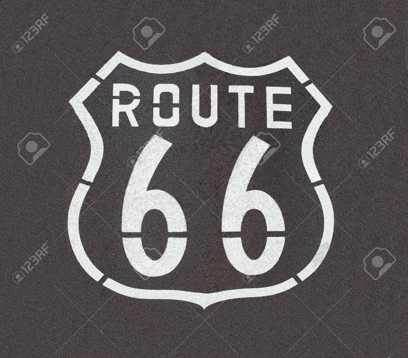 Route 66 pavement sign, straight down angle. Stock Photo - 6661952