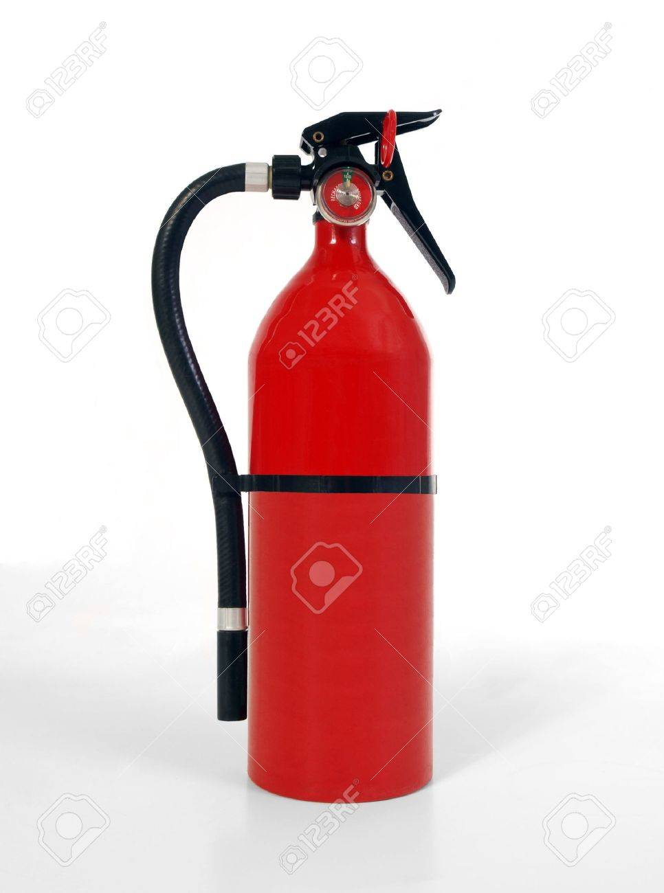 Shiny, new, home fire extinguisher.  Shot on white. Stock Photo - 6700097