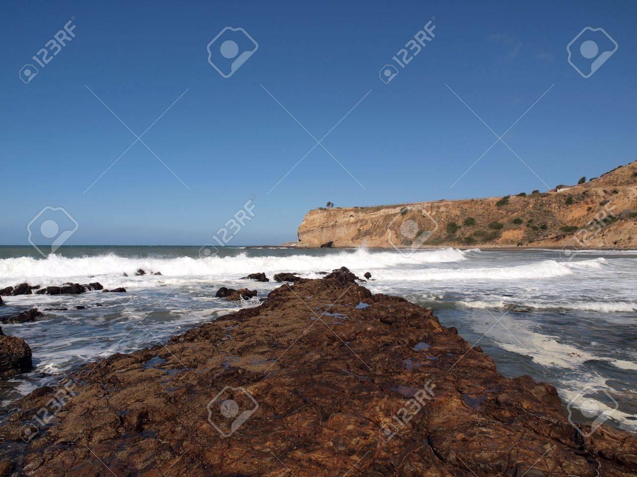 Crashing surf at a hidden cove in Ranch Palos Verdes California. Stock Photo - 7044154