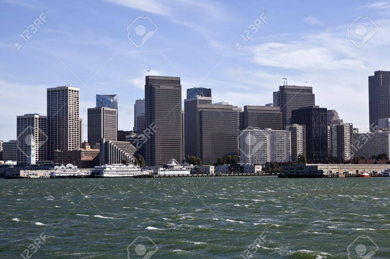Wind blown water and downtown towers in San Francisco Bay. Stock Photo - 7154789