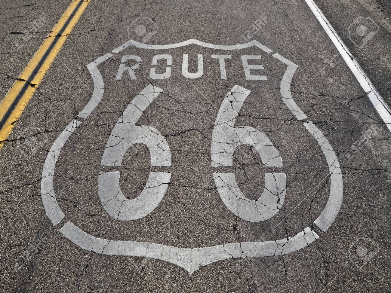 Old, broken section of historic Route 66 in California's Mojave desert. Stock Photo - 7707002