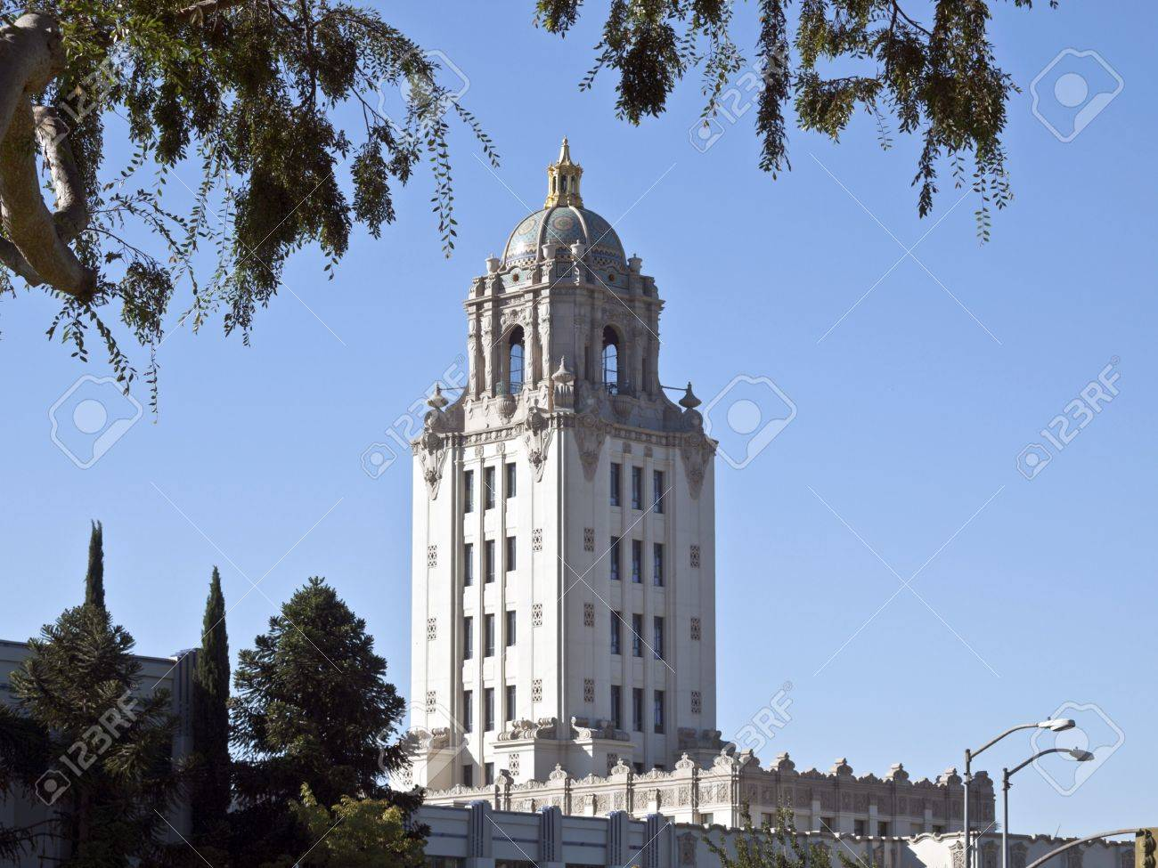 Beverly Hills City Hall building with overhead foliage. Stock Photo - 7785056