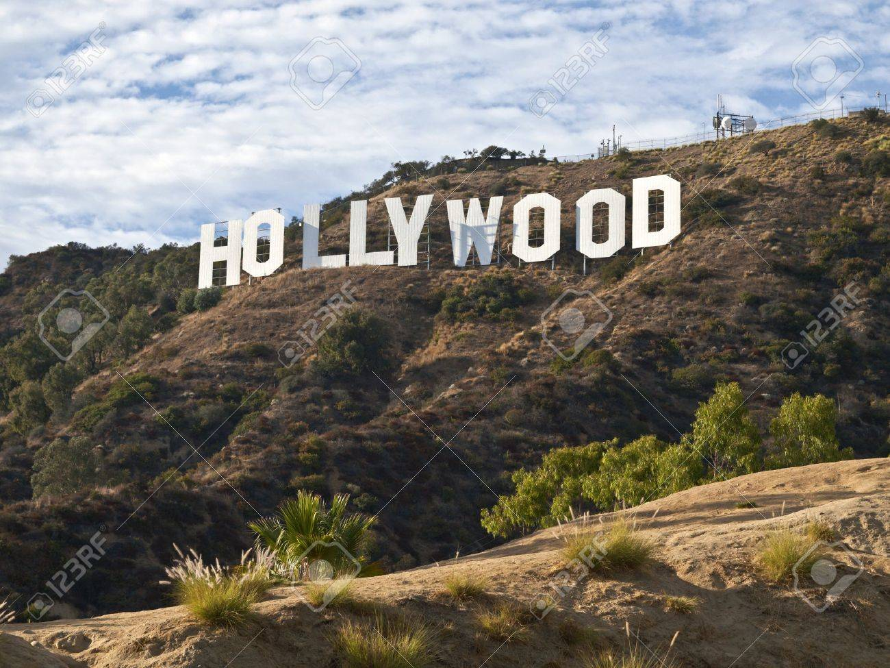 HOLLYWOOD CALIFORNIA - SEPTEMBER 29:  Hugh Hefner donates money to the Hollywood sign trust to purchase and protect 138 acres behind the sign from development, on September 29, 2010 in Los Angeles, California.   Stock Photo - 7880965