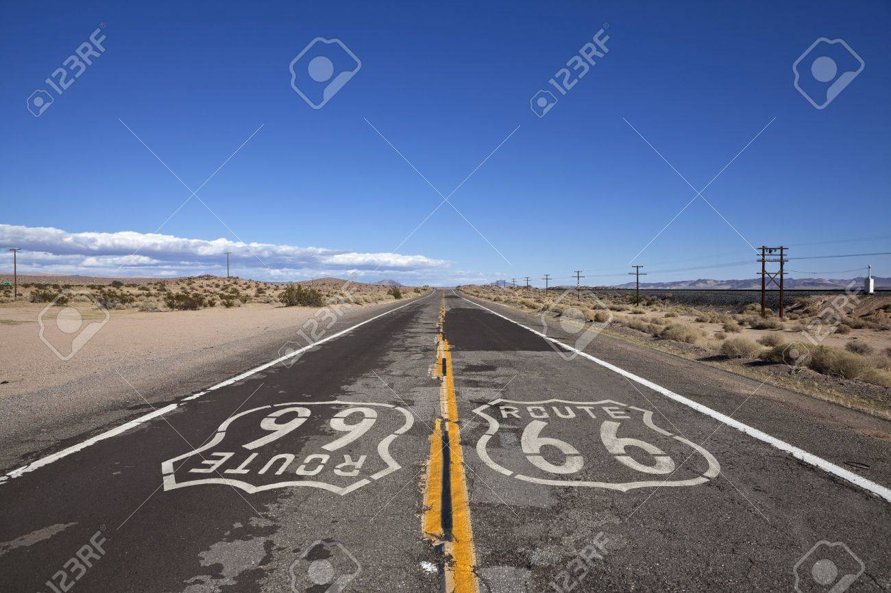 Rustic section of Route 66 deep inside California's mojave desert. Stock Photo - 8338013
