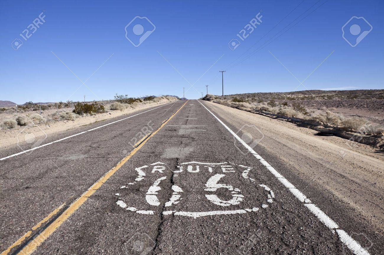 Decayed section of historic Route 66 through California's vast Mojave desert. Stock Photo - 8814899