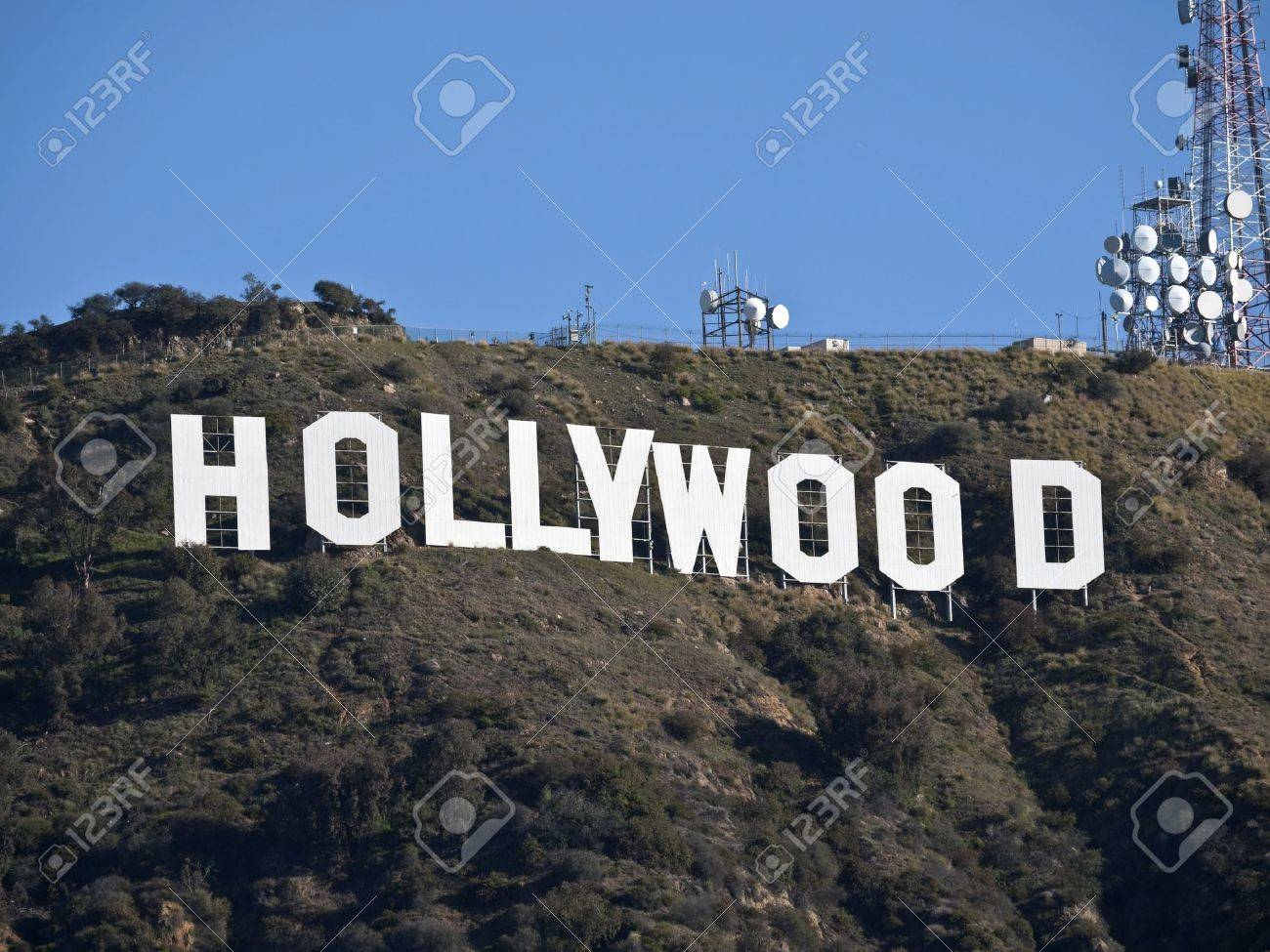 Hollywood, California, USA - February, 27th 2011:  The world famous landmark Hollywood Sign in LA's Griffith Park. Stock Photo - 8944738