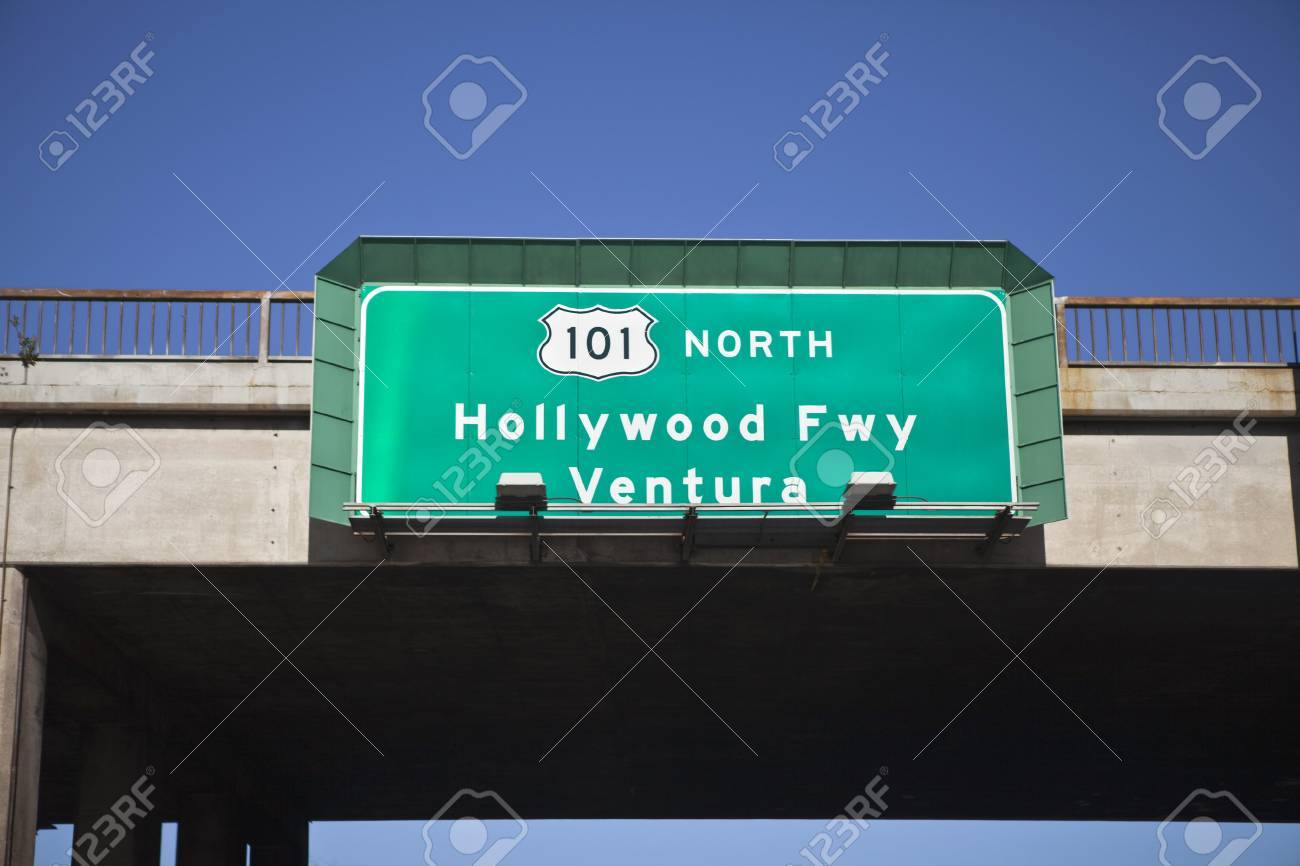 Hollywood 101 freeway sign going north towards beautiful Ventura. Stock Photo - 8993644