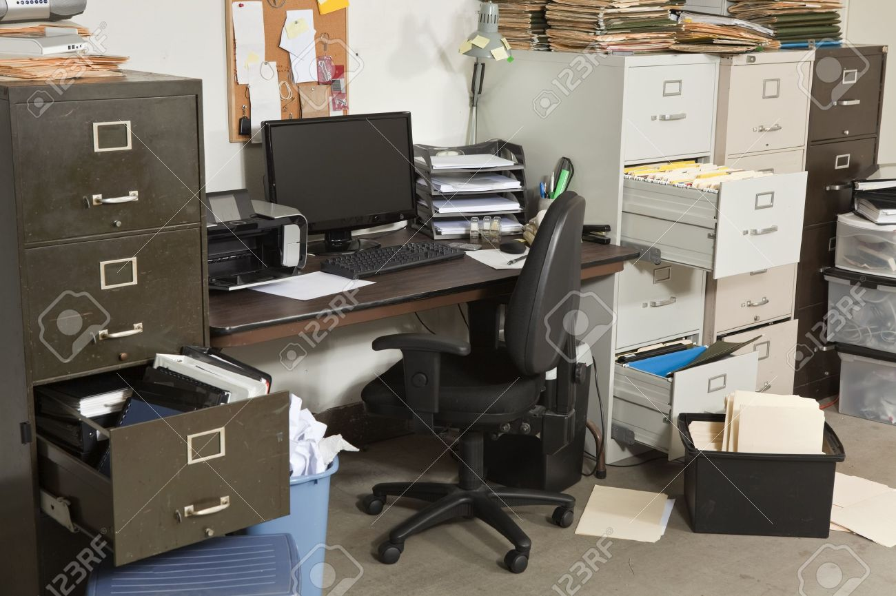 Very Messy Office With Piles Of Files Stock Photo Picture And