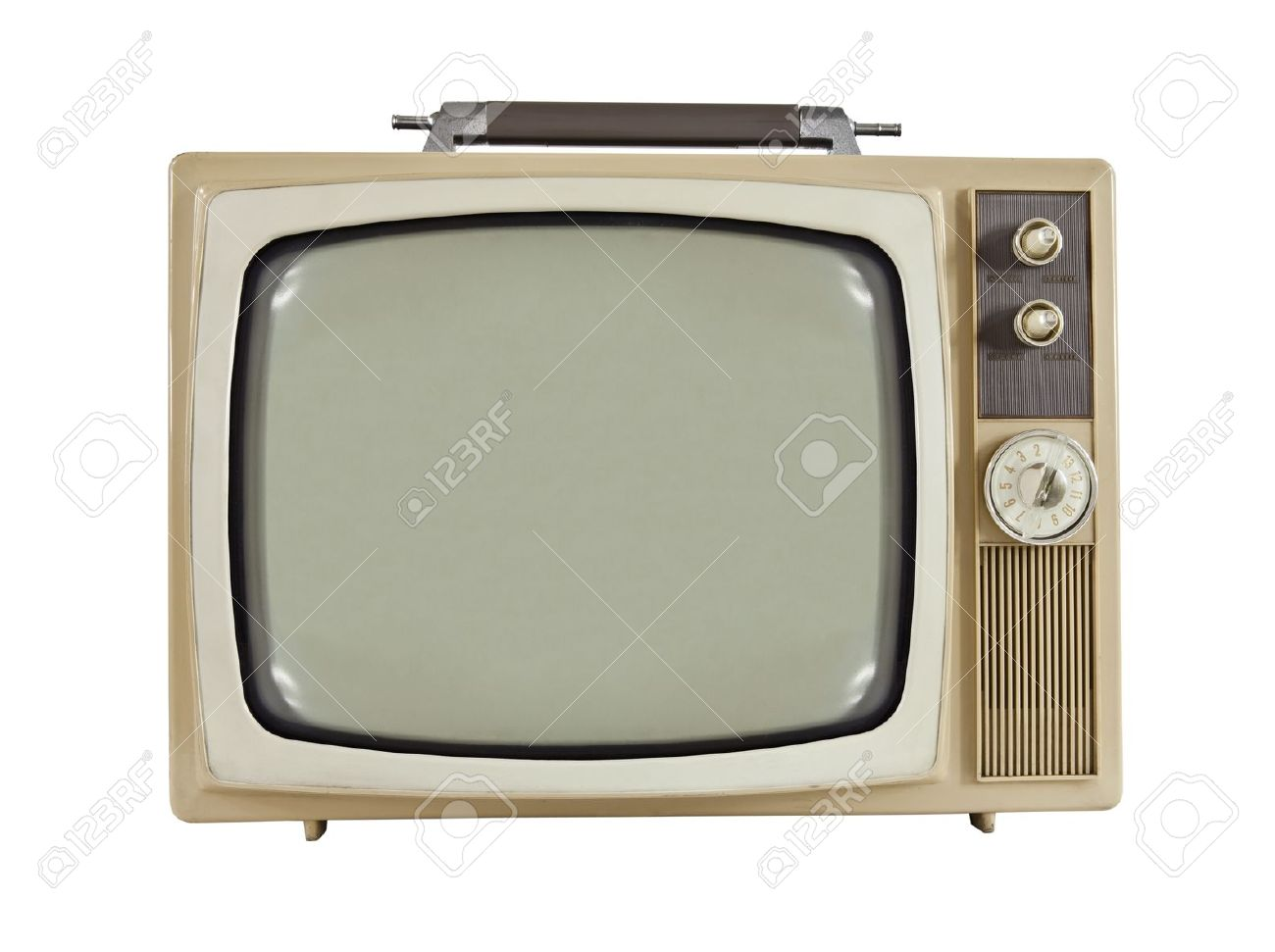 Vintage 1960's portable television isolated on white